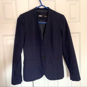 Zara Blue/Blue Plaid Collarless Blazer